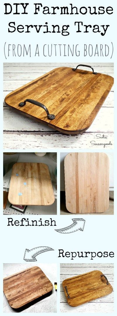 Looking for rustic farmhouse style decor on the cheap? Repurpose a beat up old cutting board from the thrift store into a gorgeous serving tray! Inexpensive and easy to make, everyone will think you bought it from a high end Fixer Upper type store! Great for holidays or just decor, this is a fun thrift store upcycle makeover from #SadieSeasongoods / www.sadieseasongoods.com