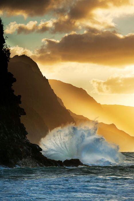 : Nature, Sunsets, Beautiful, Sunrise Sunset, Kauai Hawaii, Ocean, Crashing Wave, Places, Photo