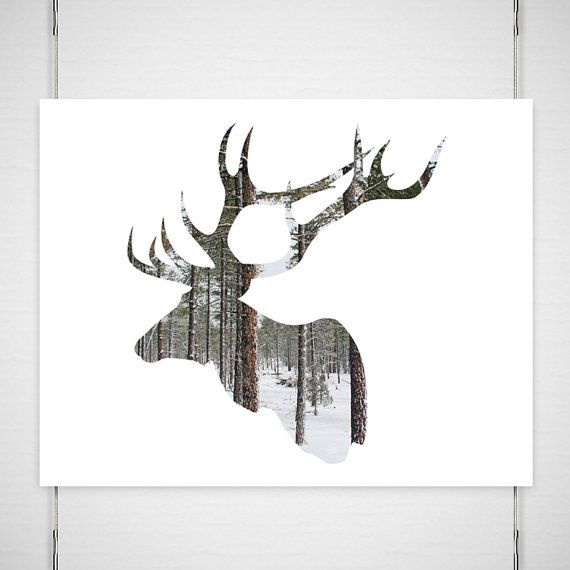 "Holiday Deer Photography / antlers silhouette print art / woodland forest modern minimal snow tree / pick your size photograph/ ""Going Stag"" op Etsy, 18,45 €"