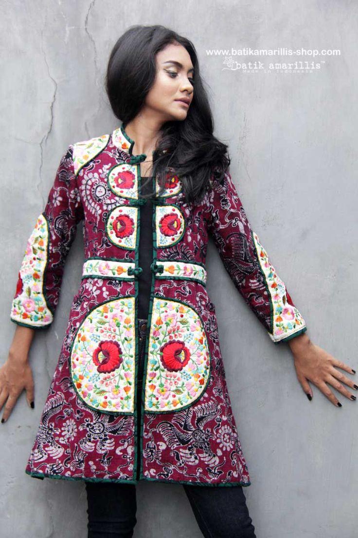 Batik Amarillis made in Indonesia NEW!! available at Batik Amarillis webstore www.batikamarillis-shop.com  Batik Amarillis's Long Ildiko Jacket  Well-tailored, stunning long jacket, features  tenun Gedog Tuban and Hungarian Embroidery inspired