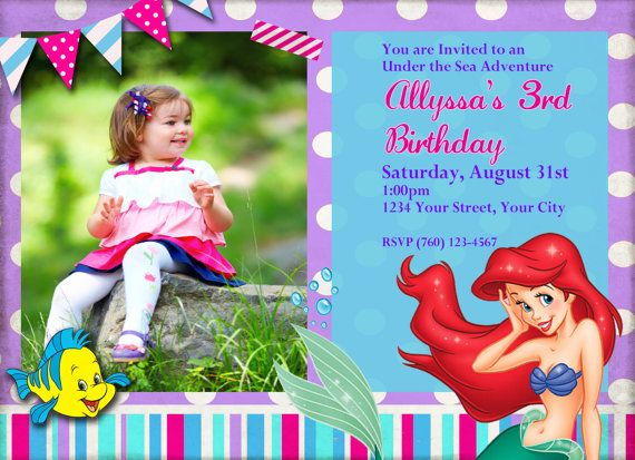 Best Hannah Little Mermaid Party Images On Pinterest - Custom ariel birthday invitations