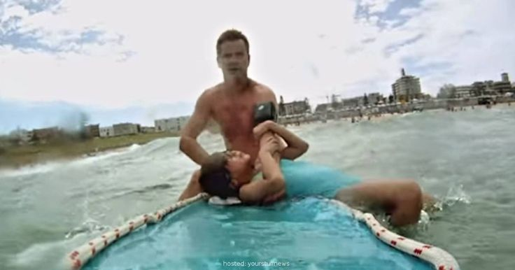 Lifeguard Forgets Camera's On When He Saves Her