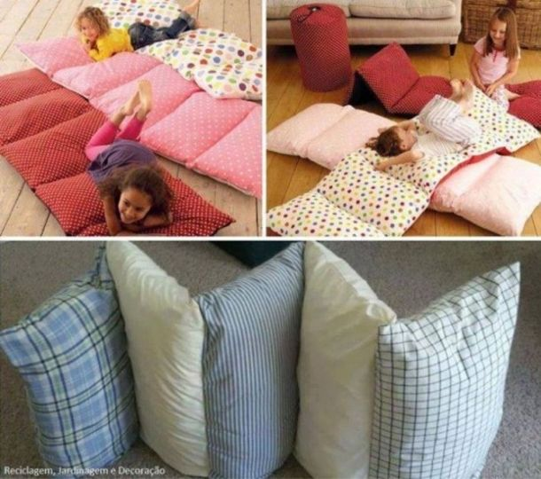Check out these easy to make pillow bed craft tutorials that are the perfect craft to make for your kids!  This is a great way to reuse those old pillows by sewing them together into a crafty bed!