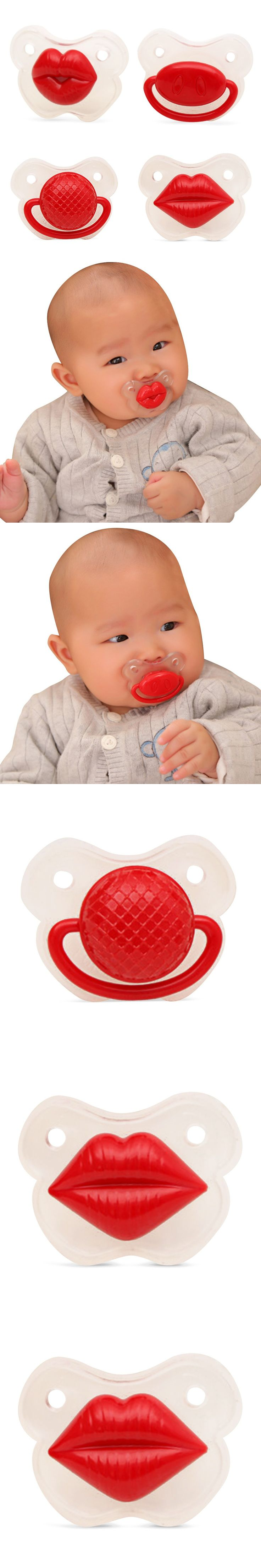 Funny Newborn Infant Pacifier Safety Top Silicone Cute Baby Soother Joke Prank Toddler Baby Kids Pacifiers Clips Feeding Care $2.69