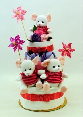 Newborn Nappy Cake Tripplets 3 Little Girl Mice 3 Layer | baby nappy cakes | nappy cakes sydney | nappy cakes australia | nappy cakes melbourne | nappy cakes brisbane | baby shower nappy cakes | baby gifts nappy cakes | Diaper cakes sydney | Dia
