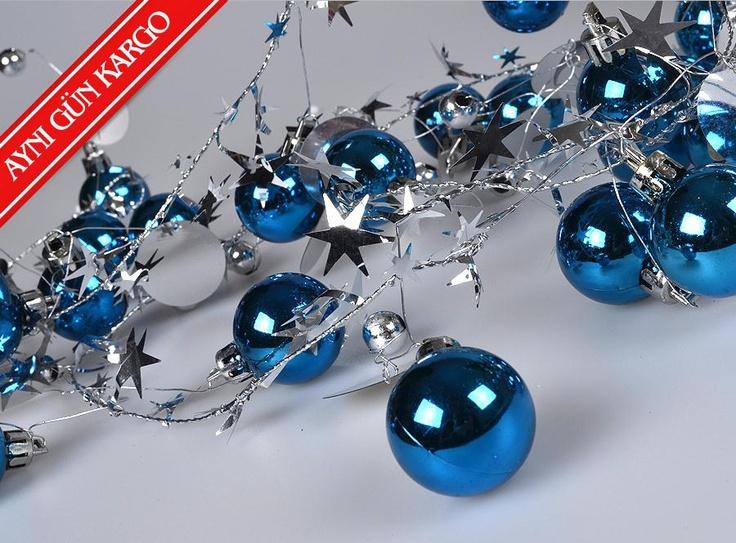 Yıldızlı ve Top Süslü Zincir-Mavi -  - Yılbaşı Ürünleri - 9,99 TL   markapella