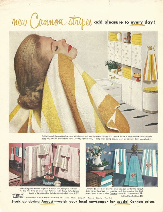 Cannon Towels Original 1957 Vintage Print Ad w/ by VintageAdarama, $9.99