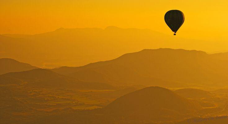 Ballooning at sunrise over La Garrotxa volcanic region of the Catalonian Pyrenees.