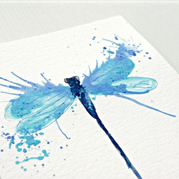 Dragonfly Art  Light Blue wall art  Small Nature por PeaceofViolet, $18.00