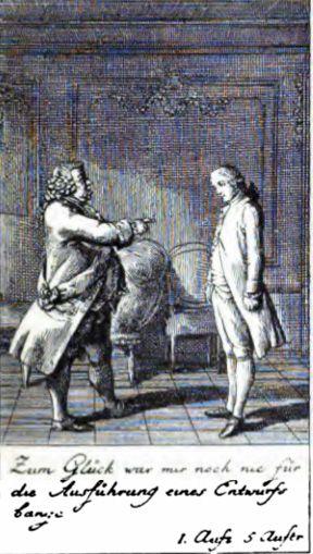 Scene uit Kabale und Liebe (1784) première in Frankfurt, kopergravure van Chodowiecki