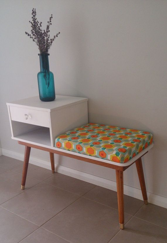 Retro Restored Vintage Mid Century 1959 Telephone Table Gossip Bench