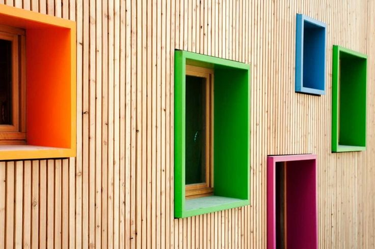New Building for Nursery and Kindergarten in Zaldibar, Spain | Natural vertical slat facade + colourful boxed windows