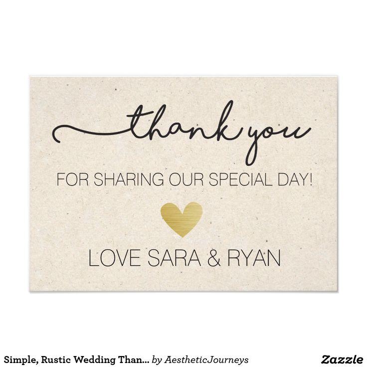 Simple Rustic Wedding Thank You Card