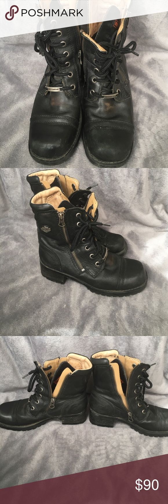 Harley Davidson Side Zip 90s Biker Boots Amazing vintage Biker boots in excellent condition. Signs of wear only create a cooler worn in Biker vibe. Make me an offer :) Harley-Davidson Shoes Combat & Moto Boots