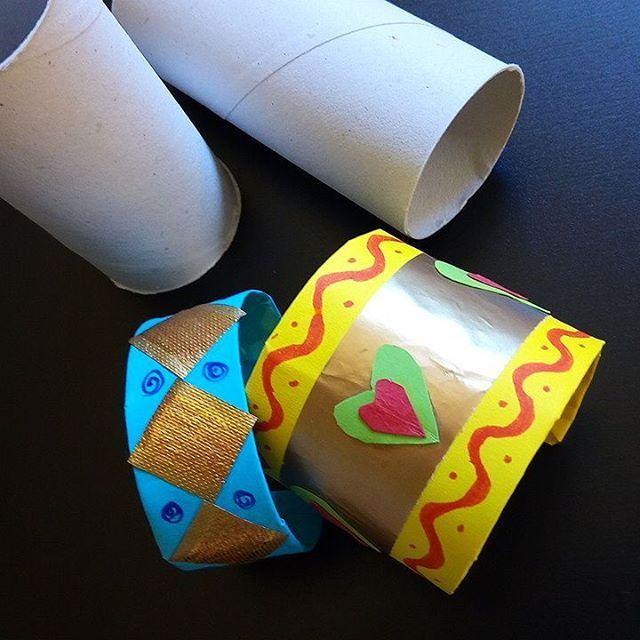 Braccialetti di tubi di carta igienica (tubi carta igienica, carta colorata, carta da regalo, nastri, pennarelli, colla vinilica, nastri adesivi) - lavoretti per bambini - riciclaggio - mottainai