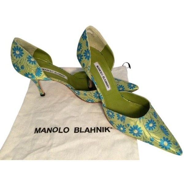 Pre-owned Manolo Blahnik Satin D'orsay Lime Green With Marine Blue... ($290) ❤ liked on Polyvore featuring shoes, pumps, lime green pumps, blue pumps, blue shoes, lime green shoes and d orsay pumps