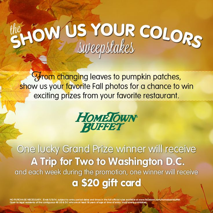 Submit your favorite fall photos for a chance to win exciting prizes from HomeTown Buffet, including a trip for two to Washington D.C.! Click below to enter.