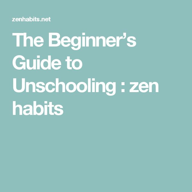 The Beginner's Guide to Unschooling : zen habits