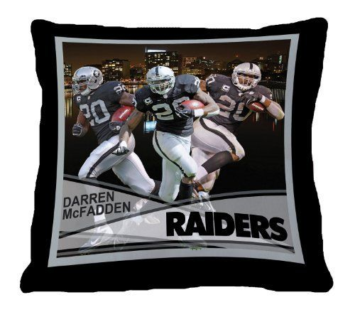 "Biggshots 12P3-108 Oakland Raiders Darren McFadden Toss Pillow, 18-Inch by Biggshots. $29.00. Crisp true life action imagery by Biggshots. Football fan pillow 18""x18"" featuring favorite NFL player. Official NFL and NFL player association license team bedding. 100 Percent polyester plush super select fiber filling and machine washable. Football room decor with NFL team colors. The Biggshots NFL player action sport toss pillow is officially licensed by the NFL and NFL player associ..."