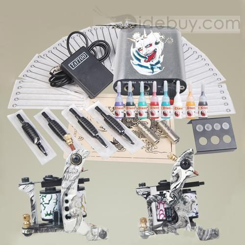 Tattoo Starter Kit with 2 Machine Guns Power Supply Needles Grips Kit DIY-160