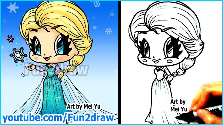 How to Draw Disney Princesses & Characters - Elsa from Frozen - Fun2draw...