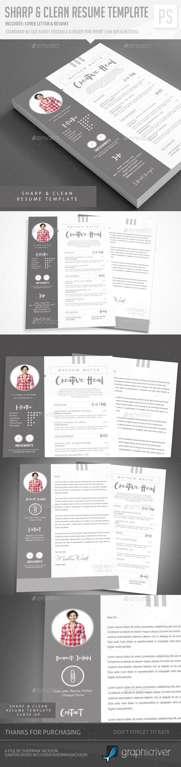 Sharp & Clean Resume for Photoshop — Photoshop PSD #corporate cv #creative cover letters • Available here → https://graphicriver.net/item/sharp-clean-resume-for-photoshop/12510846?ref=pxcr
