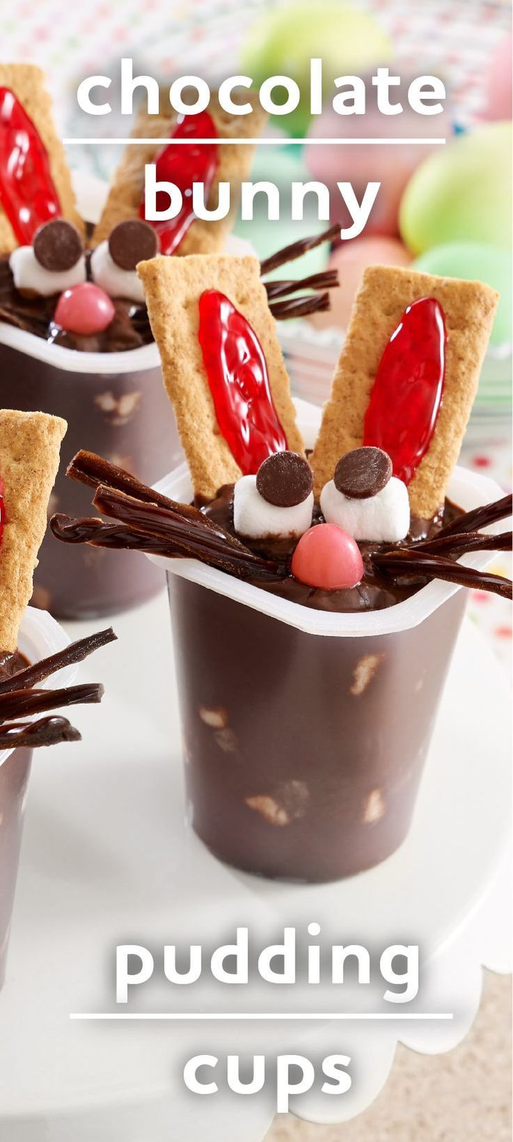 Chocolate Bunny Pudding Cups | Quick, easy Easter dessert! | Adorable treats for a hoppy holiday!