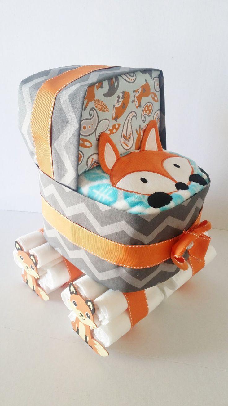 Fox Diaper Stroller, Fox Diaper Cake, Woodland Animal Baby Shower Centerpiece, Winter Baby Shower Table Decor, Baby Boy Shower Decor by LilLoveBugsCreations on Etsy https://www.etsy.com/listing/256384239/fox-diaper-stroller-fox-diaper-cake