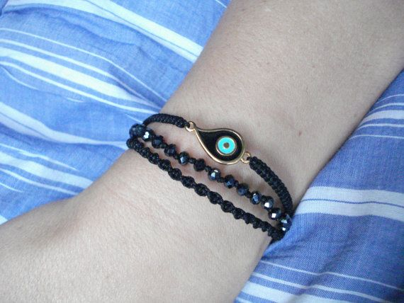 Triple row macrame bracelet Gold evil eye bracelet Wrap by Poppyg
