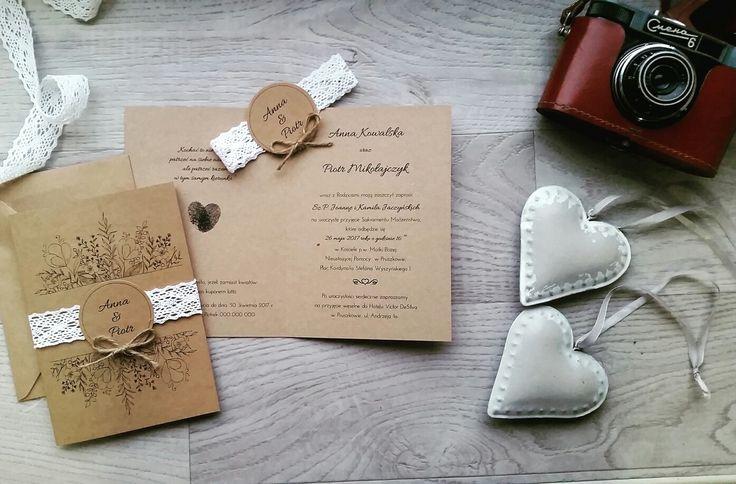 zaproszenia ślubne rustykalne, polne kwiaty, ekologiczne, z koronką