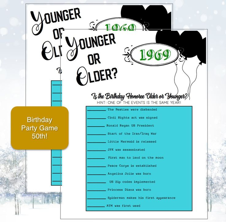 50th Birthday Party Game-