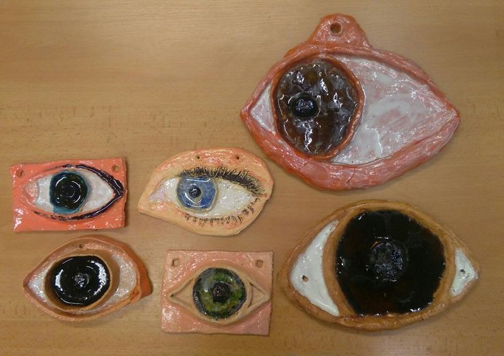 Ceramic eyes; melted glass