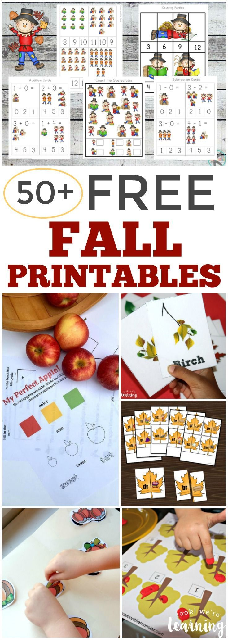 Over 50 Free Fall Printables for Kids - www.lookwerelearning.com   plenty of fall learning ideas, fall activities for kids, and fall worksheets for autumn fun!