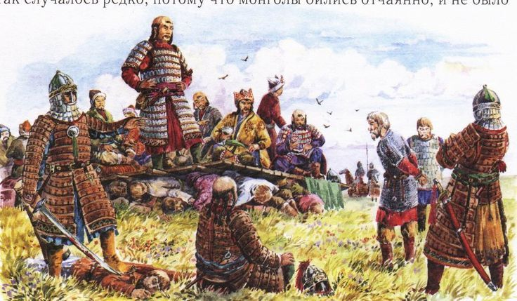 A Mongol leader stands on a platform which has been placed on top of the bodies of the vanquished Russian nobles.