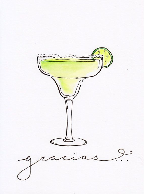 Margarita Cocktail Illustration Print by PaigeClarkPrints on Etsy