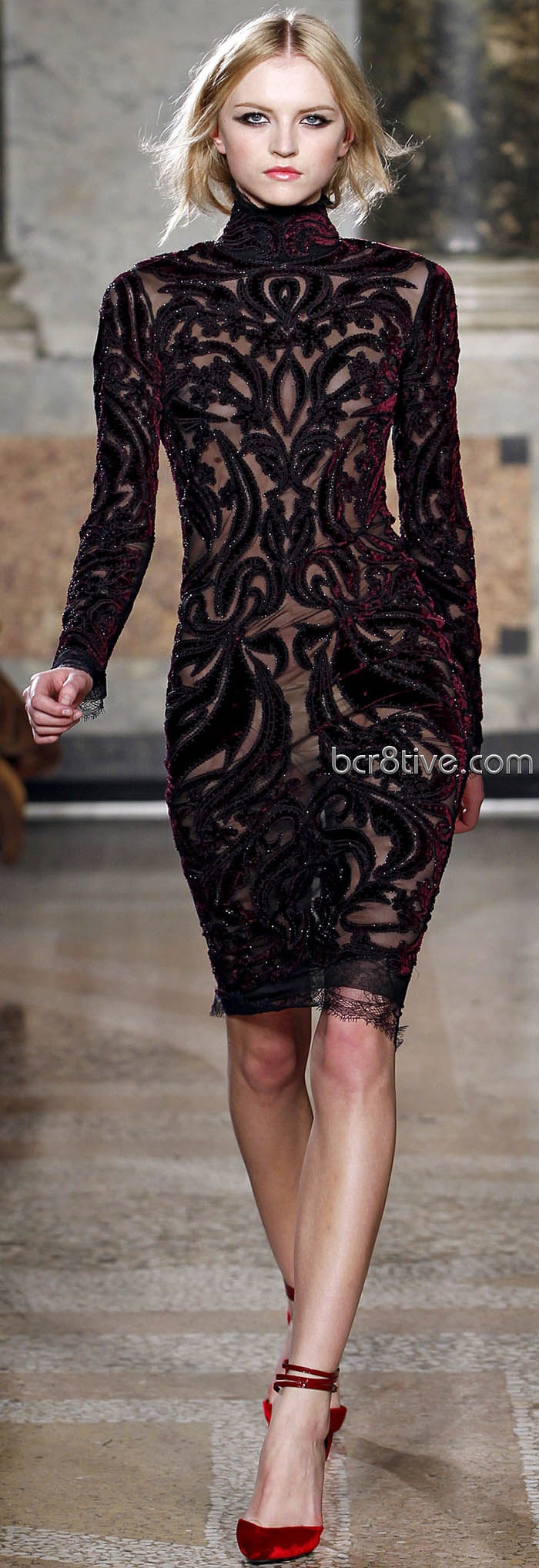 Black lace dress red shoes   best Leather u Lace images on Pinterest  Night Dresses with