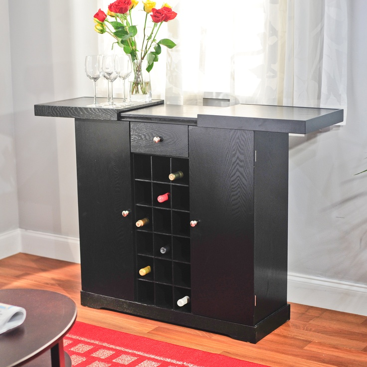 TMS Wine Storage Cabinet Black Update your home decor with a elegant black  wine storage cabinet that is designed for convenience