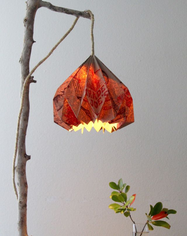 clever folded paper lamp