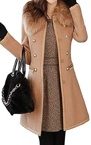 caa7acf4135c Bevalsa Manteau Femme Chaud Parka Hiver Fourrure Slim Trench Jacket de  Laine Double Rangée de Boutons