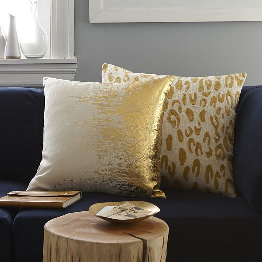 West Elm Throw Pillow Inserts : Faded Metallic Texture Pillow Cover - Gold west elm livingroom Pillows throws Chairs ...
