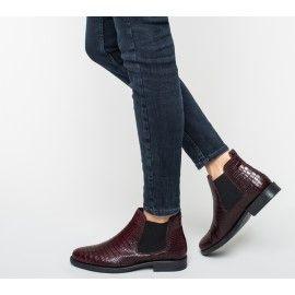 Chelsea boots bordeaux cuir façon croco