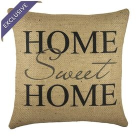 �Burlap pillow showcasing a welcoming quote.   Product: PillowConstruction Material: BurlapColor: Black and beigeFeatures:  Handmade by TheWatsonShopMade in the USA Insert includedZipper enclosure Dimensions: 16 x 16Cleaning and Care: Spot clean only