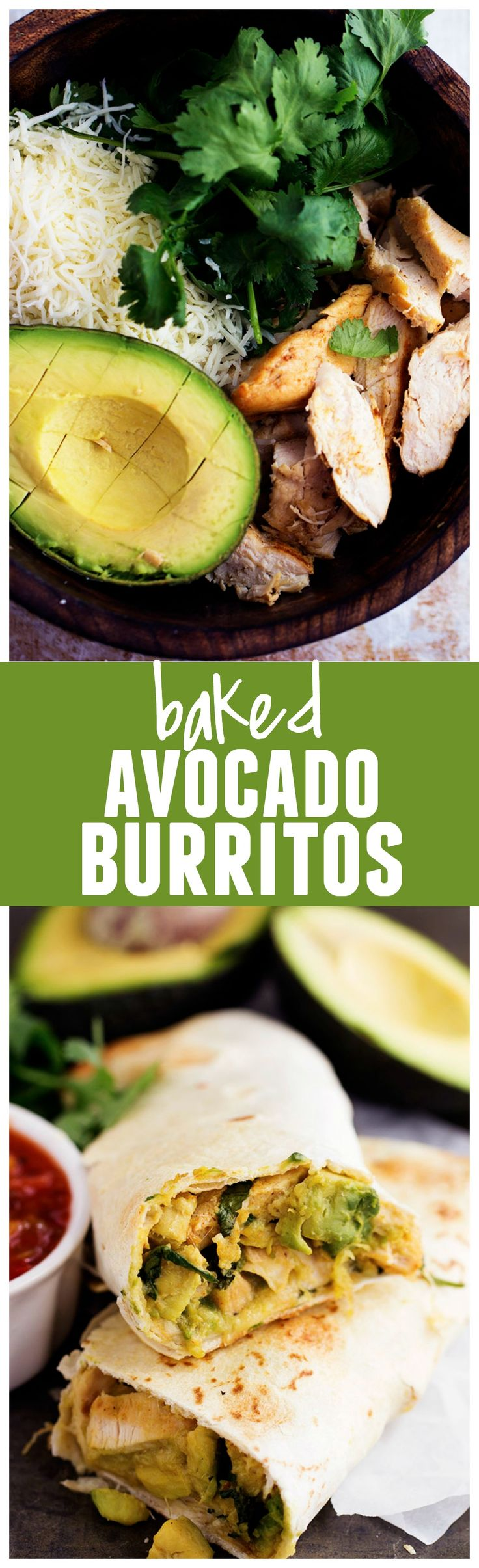 Healthy and easy baked burritos that are stuffed with fresh avocados, cilantro, spices and cheese. A deliciously filled burrito that you won't have to feel guilty about!