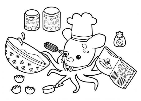 Professor Inkling Octopus Cooking Octopie In The Octonauts Coloring Page