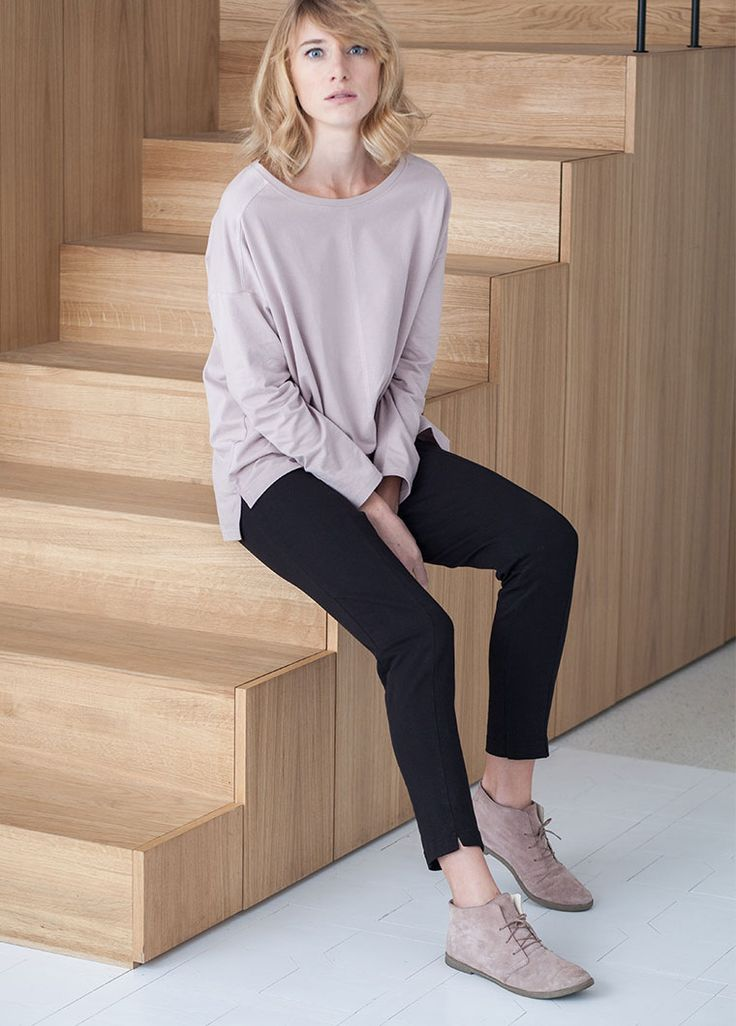 Podwer pink blouse. Black cigarettes. Wooden stairs. By the moon for women.