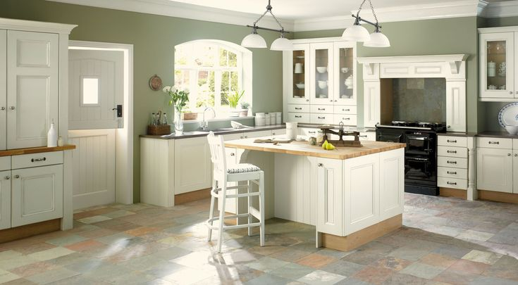 kitchen white and olive green colour
