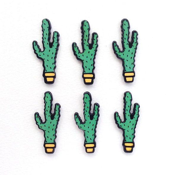 6 pcs  Cartoon Green Cactus Cacti Resin by CraftyMissBettie