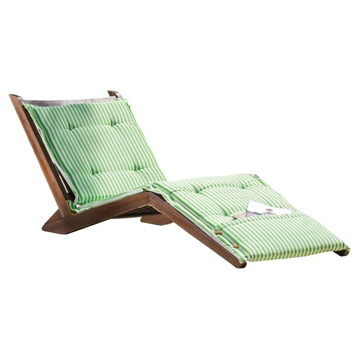 Sonora Wood Patio Folding Lounger with Cushion - Green Stripe Cushion - Christopher Knight Home