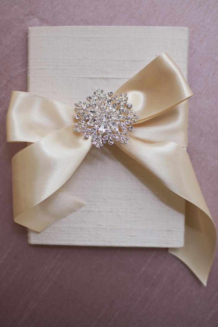 silk folio custom wedding invitation with satin ribbon With wedding invitations with ribbon and brooch