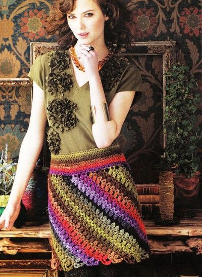 The crochet pattern for this gorgeous bias miniskirt by Doris Chan can be found in the book Crochet Noro.  http://www.crochetconcupiscence.com/2013/03/100-unique-crochet-skirts/